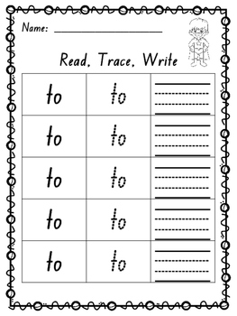 Read, Trace, Write Activity Sheets For Pre-Primer Dolch Words