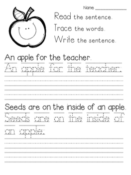 Read Trace Write Back to School Handwriting Practice