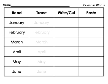 Read Trace Write Cut Paste - Calendar Words