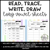 Read, Trace, Write, Draw Long Vowel Practice Sheets! (CVC-E/Sneaky e)