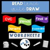 Decodable Sentences Worksheet Activities:Read-Trace-Write-Draw Sentences: BUNDLE