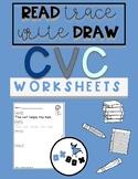 CVC Worksheet Activity: Read-Trace-Write-Draw Sentences