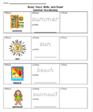 Read, Trace, Write & Draw - Summer Vocabulary