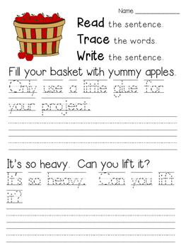 Read Trace Write Fall Handwriting Practice
