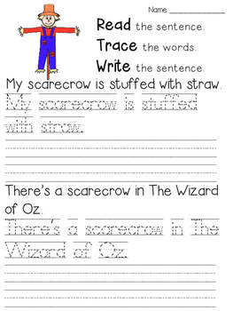 Read Trace Write Fall Handwriting Practice