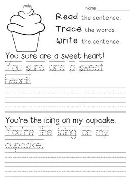 Read Trace Write February Handwriting Practice