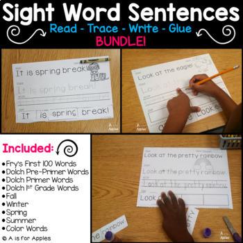 Sight Word Sentences BUNDLE! {Read-Trace-Write-Glue}