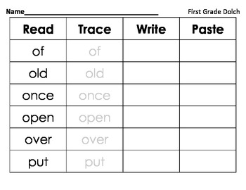 Read Trace Write Paste - First Grade Dolch