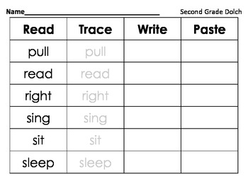 Read Trace Write Paste Second Grade dolch