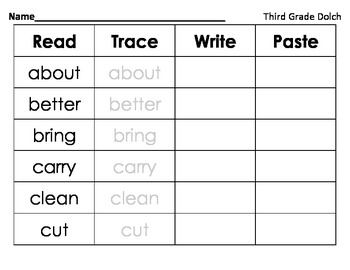 Read Trace Write Paste Third Grade Dolch