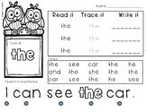 Read, Trace, Write Sight (Popcorn) Words