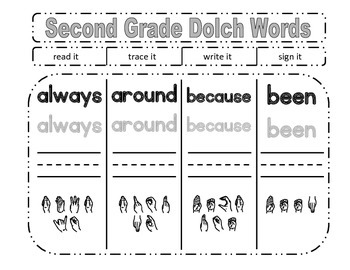 Read, Trace, Write, Sign It: Second Grade Dolch Words
