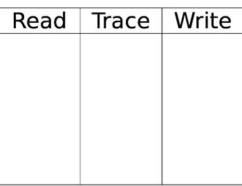 Read, Trace, Write Spelling Words Practice
