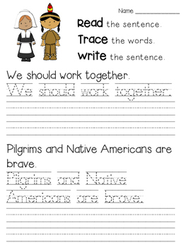 Read Trace Write Thanksgiving Handwriting Practice