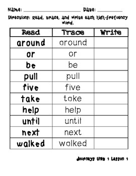 Read, Trace, Write for Journey's High Frequency Words Grade 2/ Bilingual