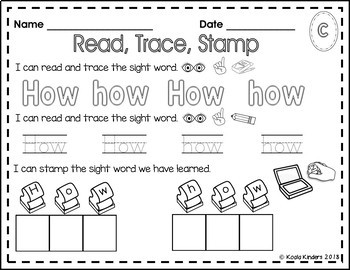 Read, Trace and Stamp Colorful Lists A-C