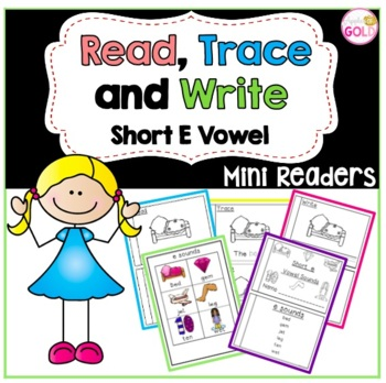 Read, Trace and Write Booklets - CVC Short e Vowel Sounds Readers