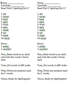 Read Well 1 Spelling Lists and Worksheets