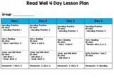 Read Well Intervention 4 Day, 5 Day, 6 day & 8 Day Lesson Plan Templates