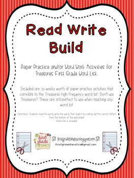 Read Write Build (Paper Practice for teaching first grade words)