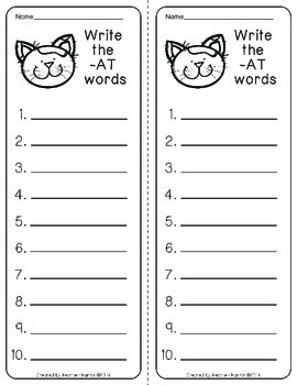 Read & Write Centers: -AT Words