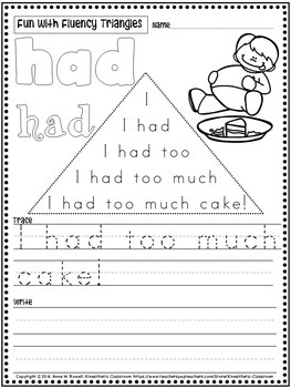 Reading Fluency Activity - Read, Write & Color with Fluency Triangles ®