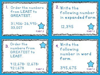 Read,Write,Compare,and Order Numbers (4.NBT.2) Task Cards