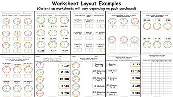 Read, Write, Convert Time Clock Worksheets and Assessment O'clock and Half Past