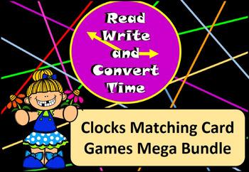Read, Write, Convert Time Matching Cards Clock Bundle