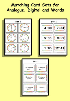 Read, Write, Convert Time Matching Game Cards O'clock