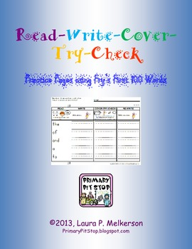 Read-Write-Cover-Try-Check Practice Pages for Fry's FIRST