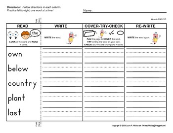 Read-Write-Cover-Try-Check Practice Pages for Fry's THIRD 100 Sight Words
