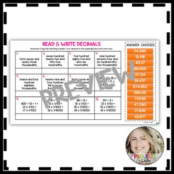 Read & Write Decimal Task Cards