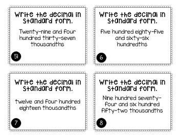 Read & Write Decimal Task Cards