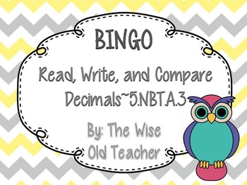 Read & Write Decimals Bingo Game PowerPoint with Blank Bingo Cards 5.NBT.A.3