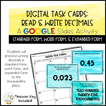 Read & Write Decimals: Digital Task Cards