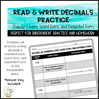 Read & Write Decimals Practice - Standard form, Word form, Expanded form