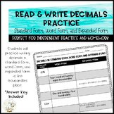 Read & Write Decimals Practice - Standard form, Word form,
