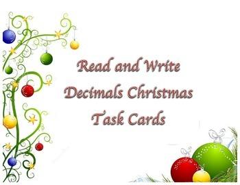 Read & Write Decimals Task Cards Christmas Theme