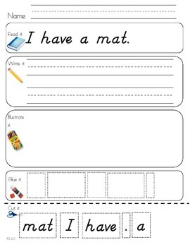 Read Write Draw Cut Theme 2 Literacy Center Activity