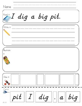 Read Write Draw Cut Theme 3 Literacy Center Activity