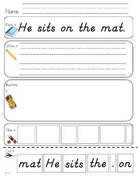Read Write Draw Cut Theme 3 Literacy Center Activity