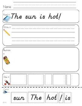 Read Write Draw Cut Theme 4 Literacy Center Activity