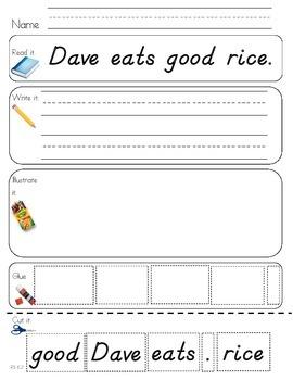 Read Write Draw Cut Theme 6 Literacy Center Activity