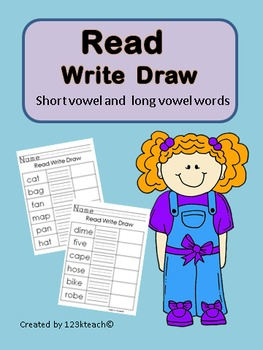 Read Write Draw Short & Long Vowels~Print & Go