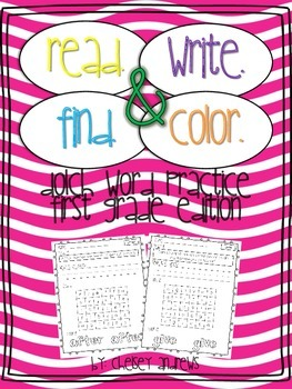 Read, Write, Find, and Color: Dolch Sight Word Practice {First Grade}
