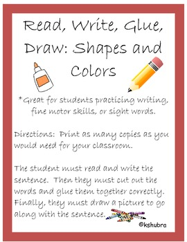 Read, Write, Glue, Draw - Shapes and Colors