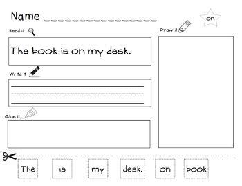 Read, Write, Glue Kindergarten Sight Word Sentence Printables: CCSS K.RF.1