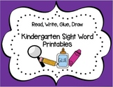 Read, Write, Glue Kindergarten Sight Word Sentence Printab