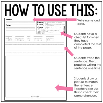Kindergarten Writing: Short e Writing Paper, Writing Center